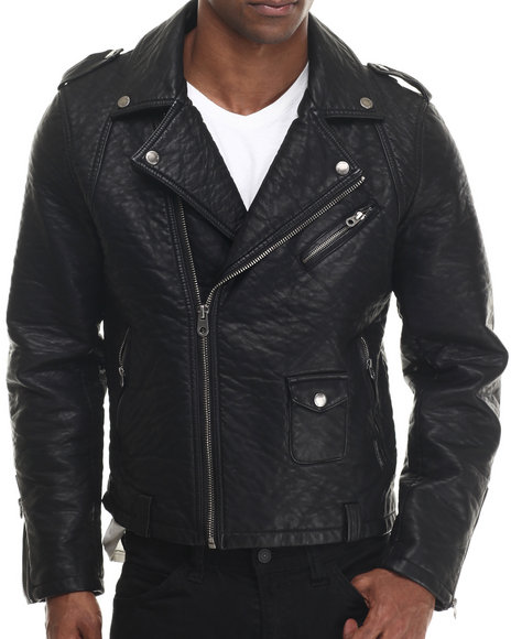 Members Only - Men Black Heavy Faux Leather Motorcycle Jacket - $85.99