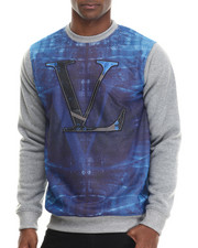 Men - Color Blocked Sweatshirt w/ Printed Mesh