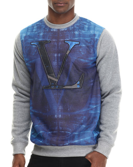 Vampire Life - Men Blue Color Blocked Sweatshirt W/ Printed Mesh