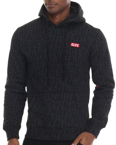 Alife - Men Black Sticker Pattern Pullover Hoodie - $88.00