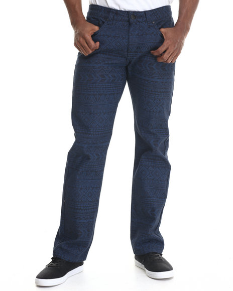 Buyers Picks - Men Navy Aztec Print Coated Denim Jeans