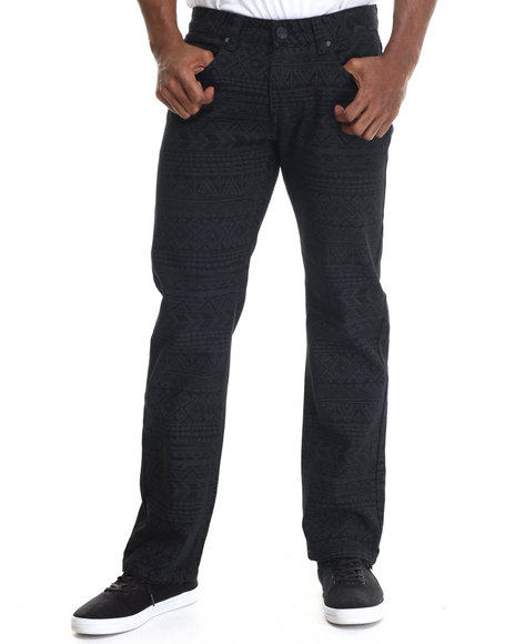 Buyers Picks - Men Black Aztec Print Coated Denim Jeans