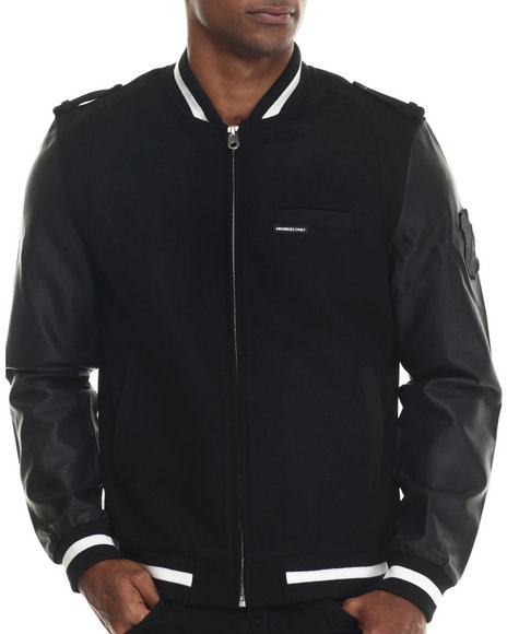 Members Only - Men Black Rocker Varsity Jacket