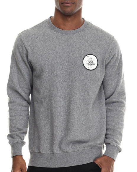 Rvca - Men Grey Freedom Of Death Fleece Crewneck Sweatshirt