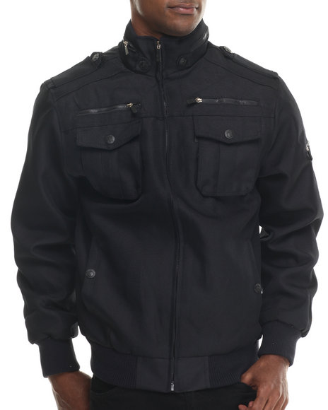 Basic Essentials - Men Navy Zip Ballistic Nylon Jacket - $54.00