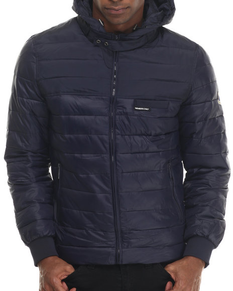 Ur-ID 213322 Members Only - Men Navy Colorblock Hoody Jacket