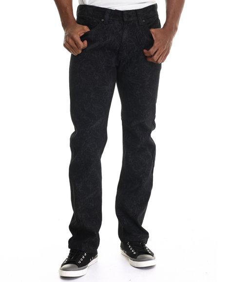 Buyers Picks - Men Black Floral Print Coated Denim Jeans