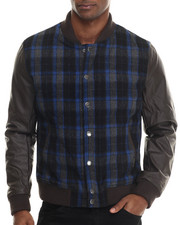 Members Only - Plaid Wool Varsity Jacket w/ faux leather sleeves