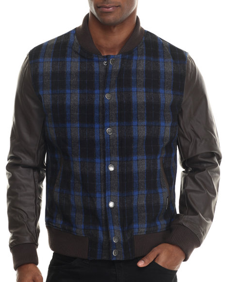 Ur-ID 213326 Members Only - Men Blue Plaid Wool Varsity Jacket W/ Faux Leather Sleeves