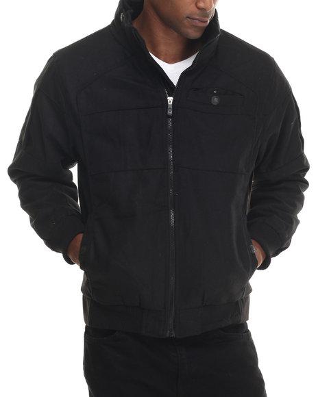 Basic Essentials - Men Black Tonal Wool Bomber Jacket