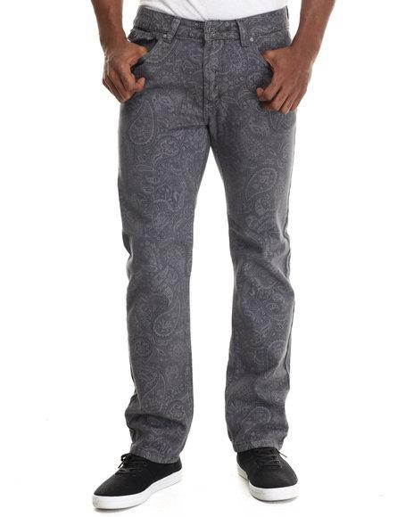 Buyers Picks - Men Grey Paisley Print Coated Denim Jeans - $48.99