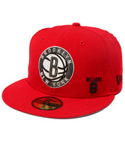 Men - Brooklyn Nets Williams #8 Red Alert Edition custom 5950 fitted hat (Drjays.com Exclusive)