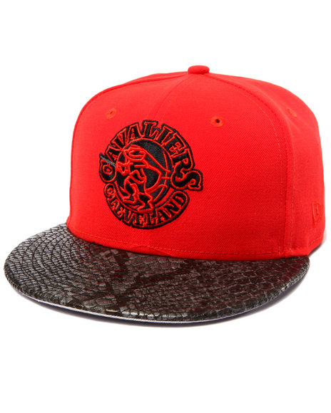 New Era - Men Red Cleveland Cavaliers Snakeskin Embosed Custom 5950 Fitted Hat (Drjays.Com Exclusive)