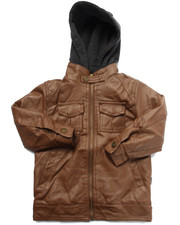 Arcade Styles - Borderline Faux Leather Jacket w/ Hood (4-7)