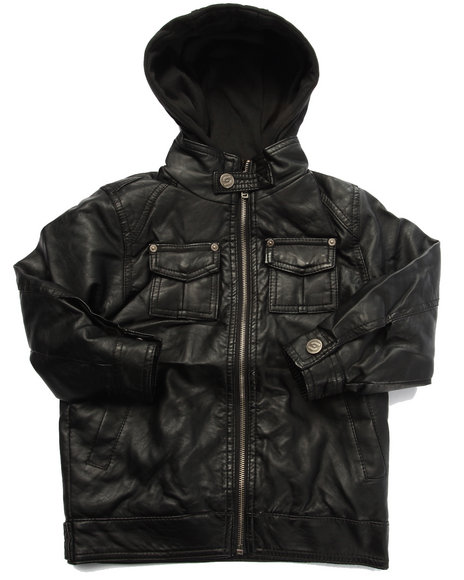 Arcade Styles - Boys Black Borderline Faux Leather Jacket W/ Hood (4-7) - $21.99