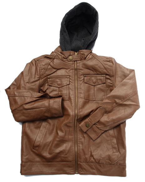 Arcade Styles - Boys Brown Borderline Faux Leather Jacket W/ Hood (8-20)