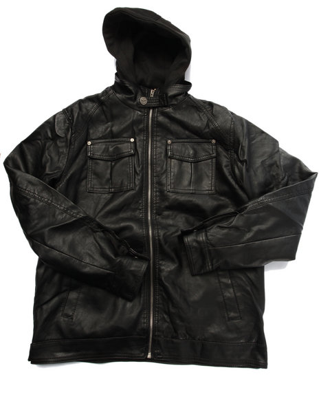 Arcade Styles - Boys Black Borderline Faux Leather Jacket W/ Hood (8-20) - $23.99