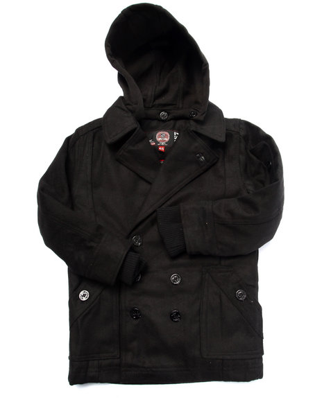 Arcade Styles - Boys Black Wool Peacoat W/ Hood (4-7) - $40.99