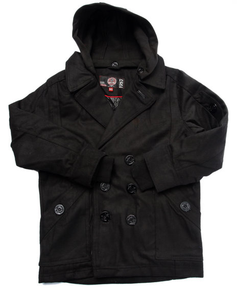 Arcade Styles - Boys Black Wool Peacoat W/ Hood (8-20) - $44.99