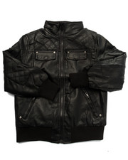 Arcade Styles - Quilted Faux Leather Bomber Jacket (8-20)