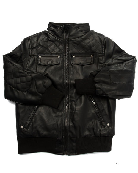 Arcade Styles - Boys Black Quilted Faux Leather Bomber Jacket (8-20) - $26.99