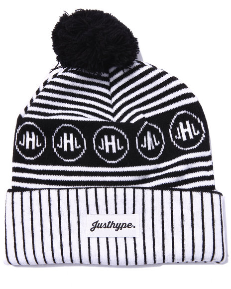 Justhype Men Signature Striped Beanie Black