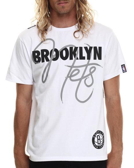 Ur-ID 213408 NBA, MLB, NFL Gear - Men White Brooklyn Nets Script Tee