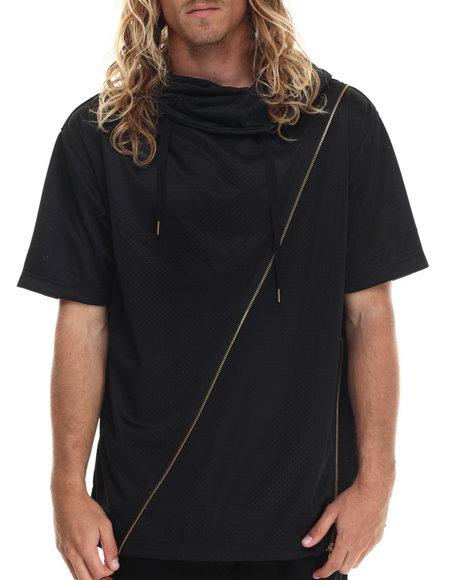 Allston Outfitter - Men Black Zipper Trim Layered Hoodie