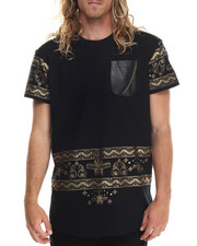 Men - Metallic Print Long Tail T-Shirt