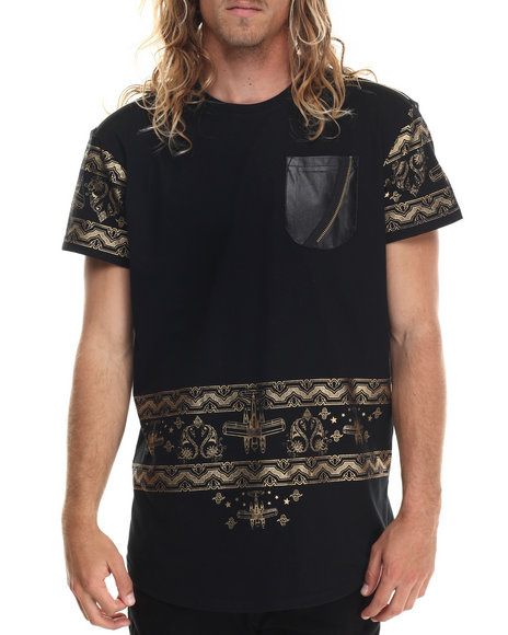 Allston Outfitter - Men Black Metallic Print Long Tail T-Shirt - $62.00