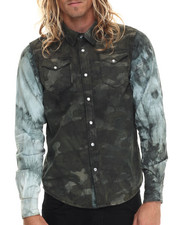 Men - Over Dye Camo Print L/S Button-Down