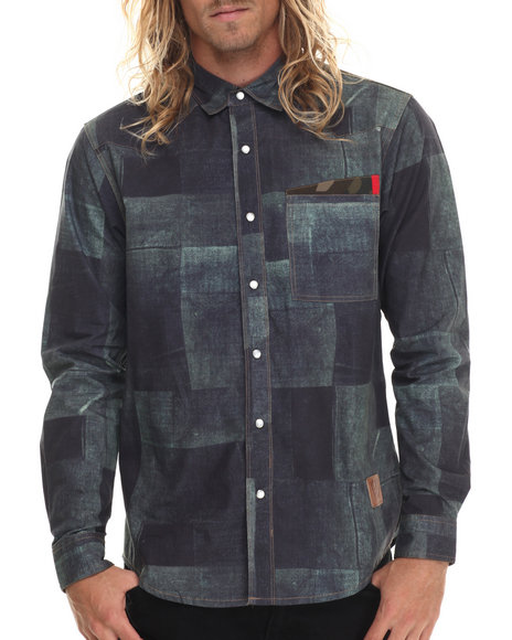 Allston Outfitter - Men Blue Denim Patch L/S Button-Down - $103.00