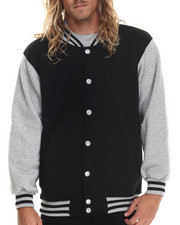 Basic Essentials - Contrast - Sleeved Fleece Varsity Jacket
