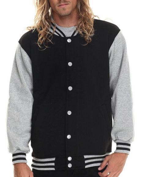 Ur-ID 222966 Basic Essentials - Men Grey Contrast - Sleeved Fleece Varsity Jacket
