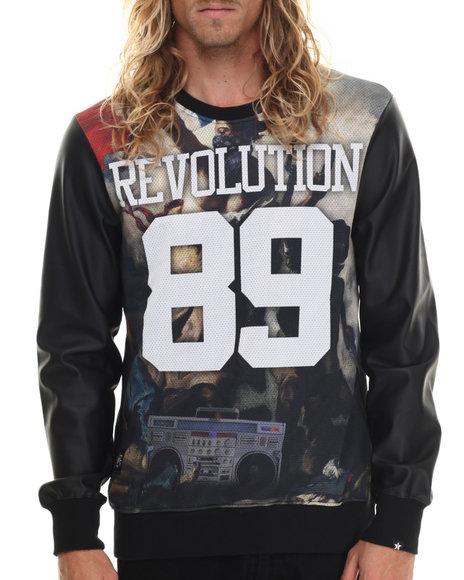 Ur-ID 213430 Two Angle Clothing - Men Black Tevol Revolution Crewneck Sweatshirt