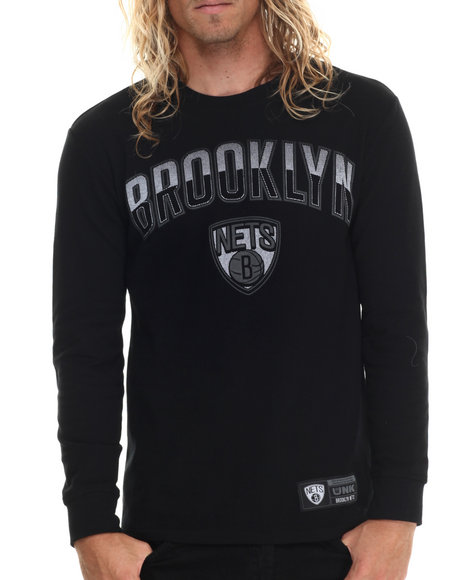 Nba, Mlb, Nfl Gear - Men Black Brooklyn Nets Core Thermal