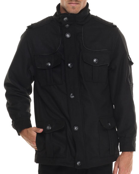 Basic Essentials - Men Black Passport Wool Coat