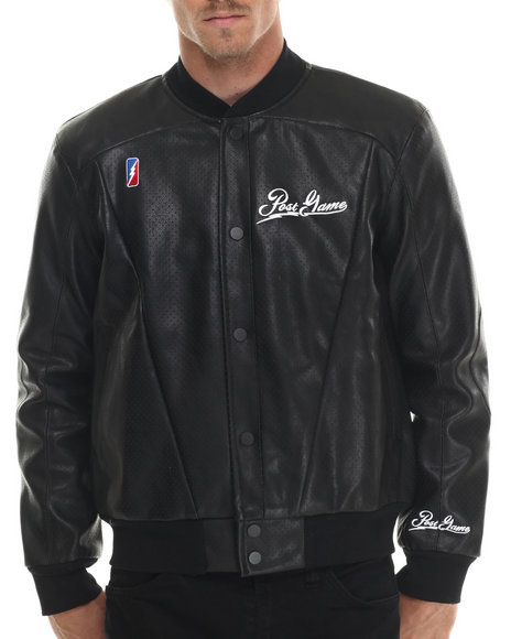 Post Game - Men Black Post Game 8 - Ball Faux Leather Jacket