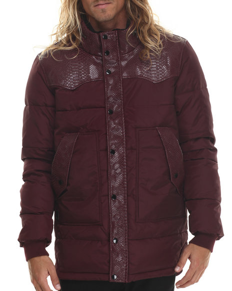 Black Kaviar - Men Maroon Somerset Western - Style Quilted Jacket - $185.99