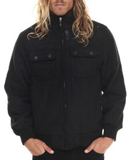 Light Jackets - Wool Bomber Jacket with Hidden Hood