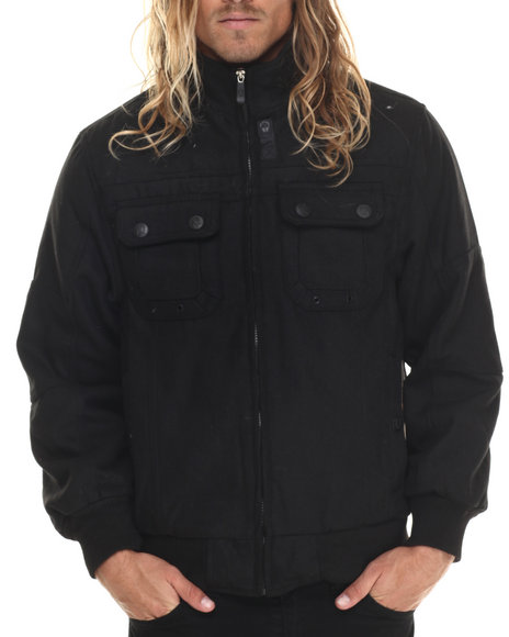 Basic Essentials - Men Black Wool Bomber Jacket With Hidden Hood