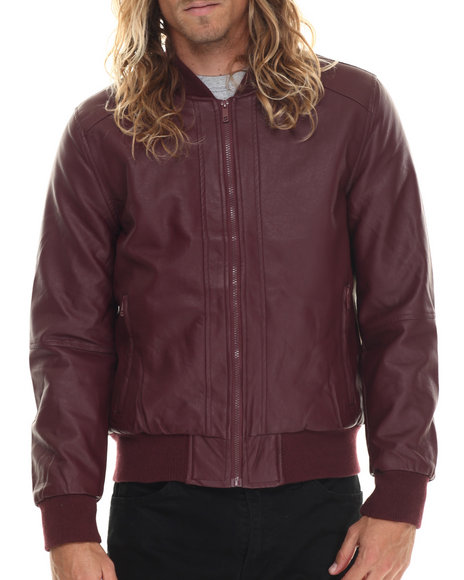 Basic Essentials - Men Maroon Faux Leather Flight Jacket