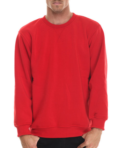 Basic Essentials - Men Red Basic Fleece Crewneck Sweatshirt