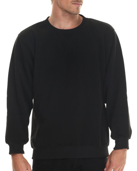 Basic Essentials - Men Black Basic Fleece Crewneck Sweatshirt