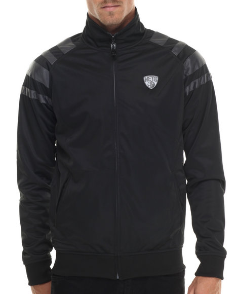 Nba, Mlb, Nfl Gear - Men Black,White Brooklyn Nets Carmichael Track Jacket