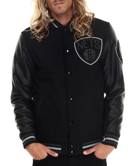 Nba, Mlb, Nfl Gear - Men Black Brooklyn Nets Bogue Varsity Jacket W/ Vegan Leather Sleeves