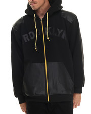 Hoodies - Brooklyn Faux Leather - Trimmed Fleece Hoodie