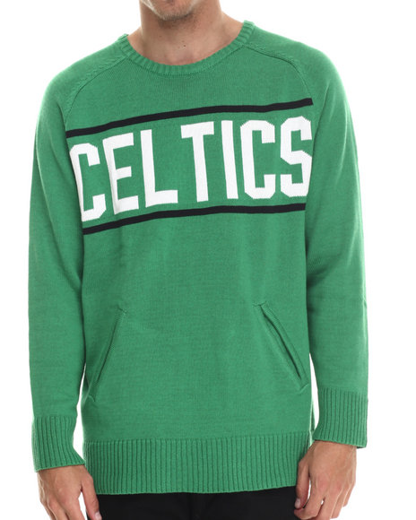 Ur-ID 213402 NBA, MLB, NFL Gear - Men Green Boston Celtics Old School Sweater W/ Front Pockets