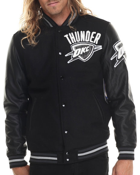 Nba, Mlb, Nfl Gear - Men Black Oklahoma City Thunder Bogue Varsity Jacket W/ Vegan Leather Sleeves