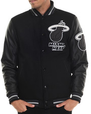 NBA, MLB, NFL Gear - Miami Heat Bogue Varsity Jacket w/ Vegan Leather Sleeves